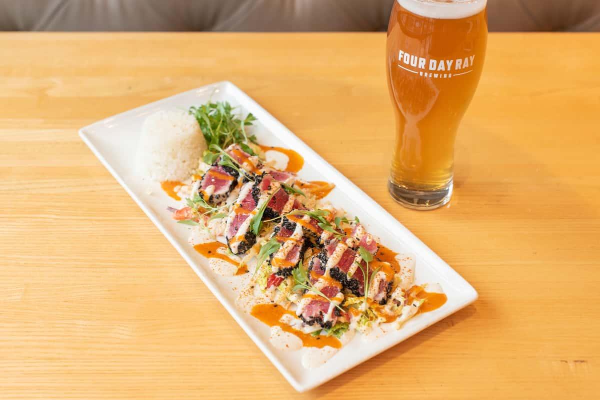 seared ahi tuna and beer