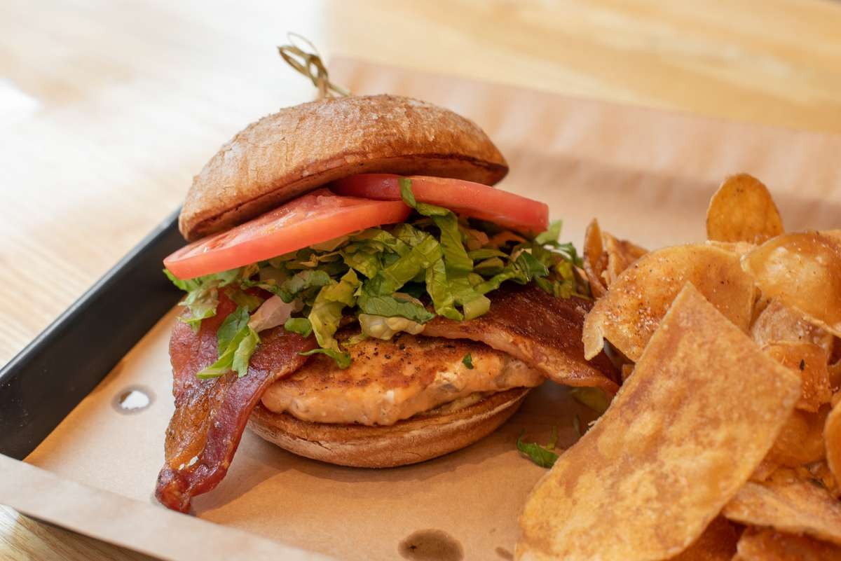 "Salmon ""BLT"" Burger"