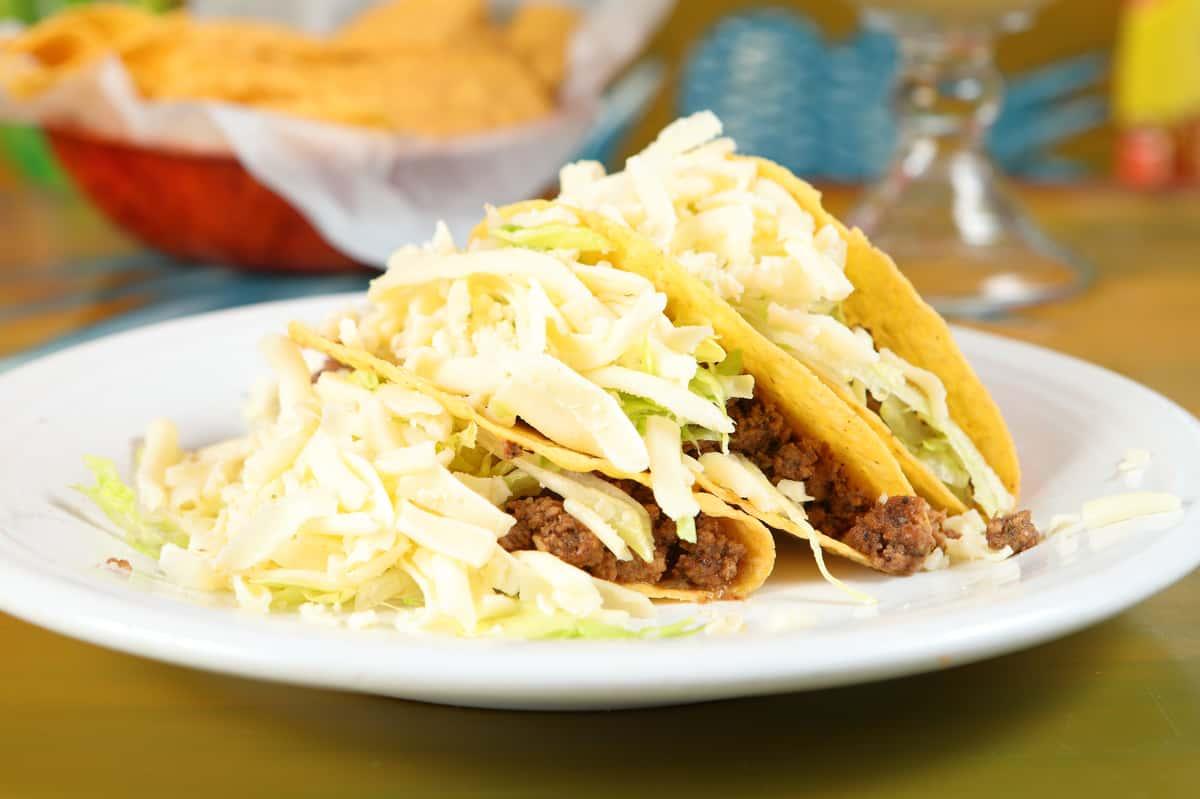 three beef tacos