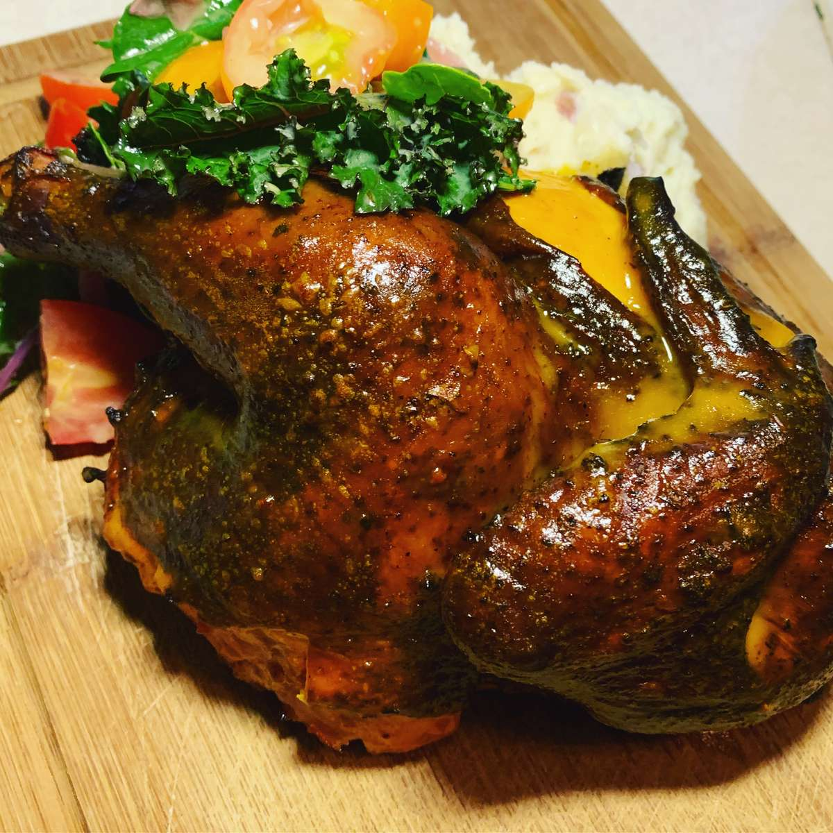 fire-roasted chicken dinner *for 4 people