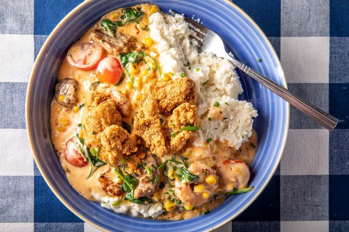 Crispy Catfish, Shrimp & Grits