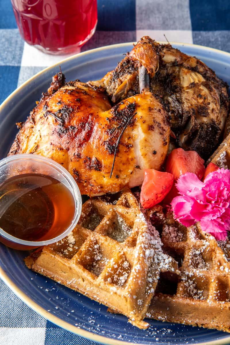 Jerk Chicken & Sweet Potato Waffles