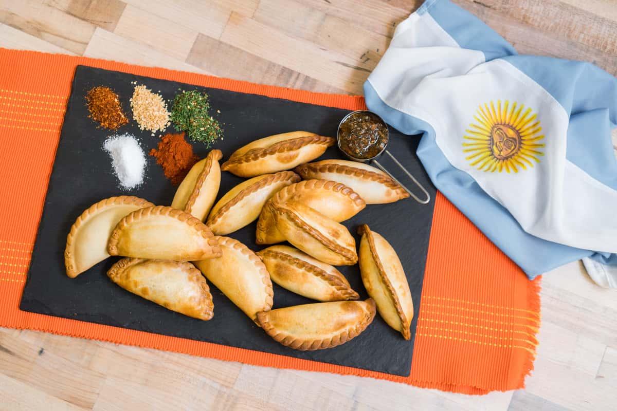 Argentinian flag and empanadas