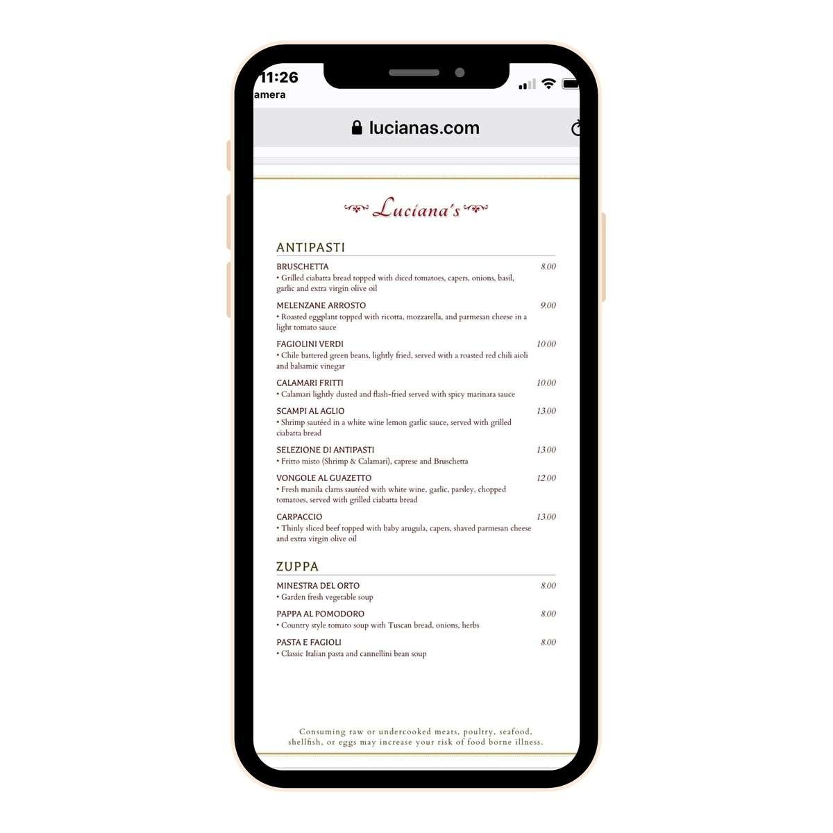 Contactless menu