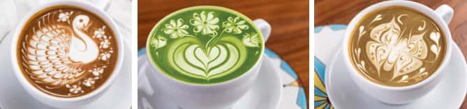 Three photos showing espresso and green tea lattes