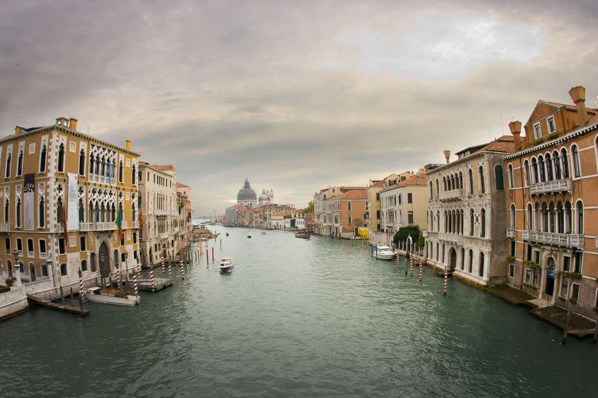 Scenic view along one of the canals of Venice, Italy