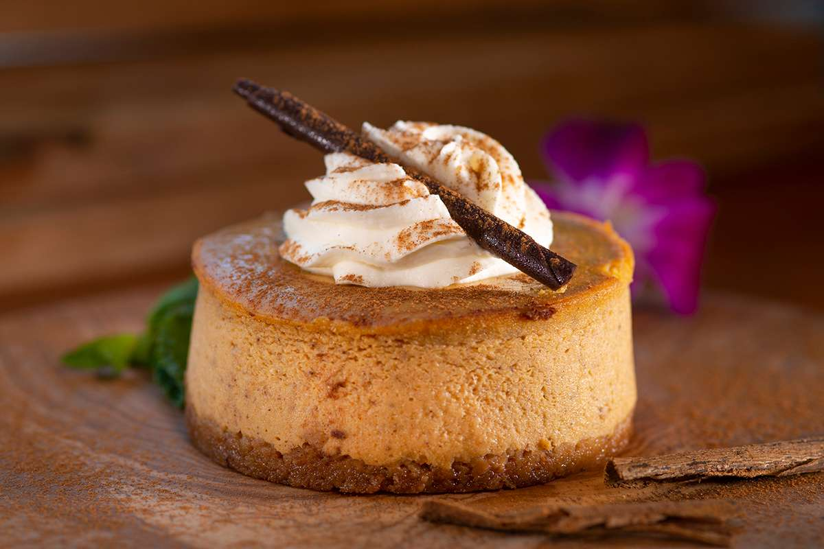 Individual Pumpkin Cheesecake with dollop of whip cream and chocolate spike.