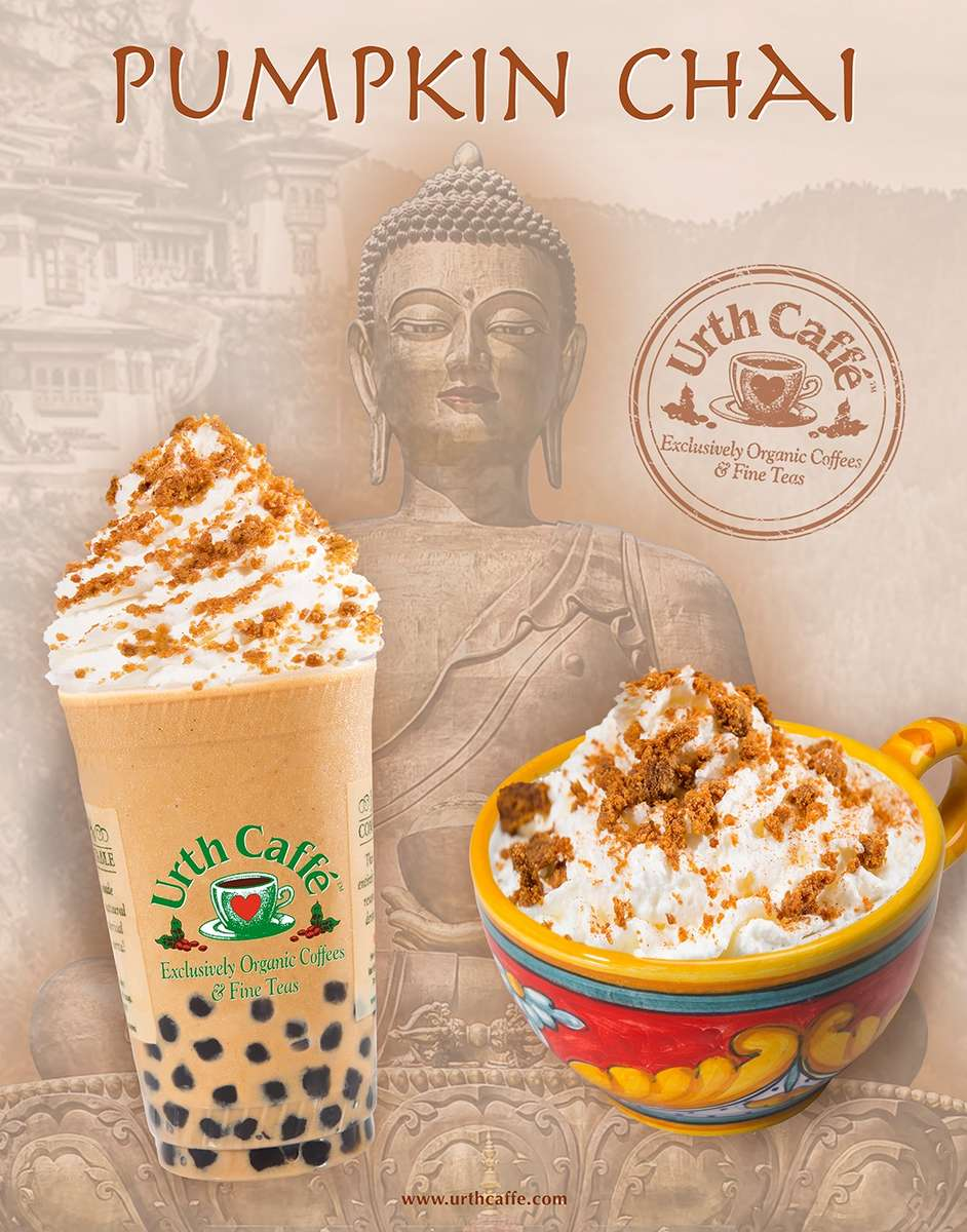 Pumpkin Chai poster showing blended ice drink with boba, left, and hot latte