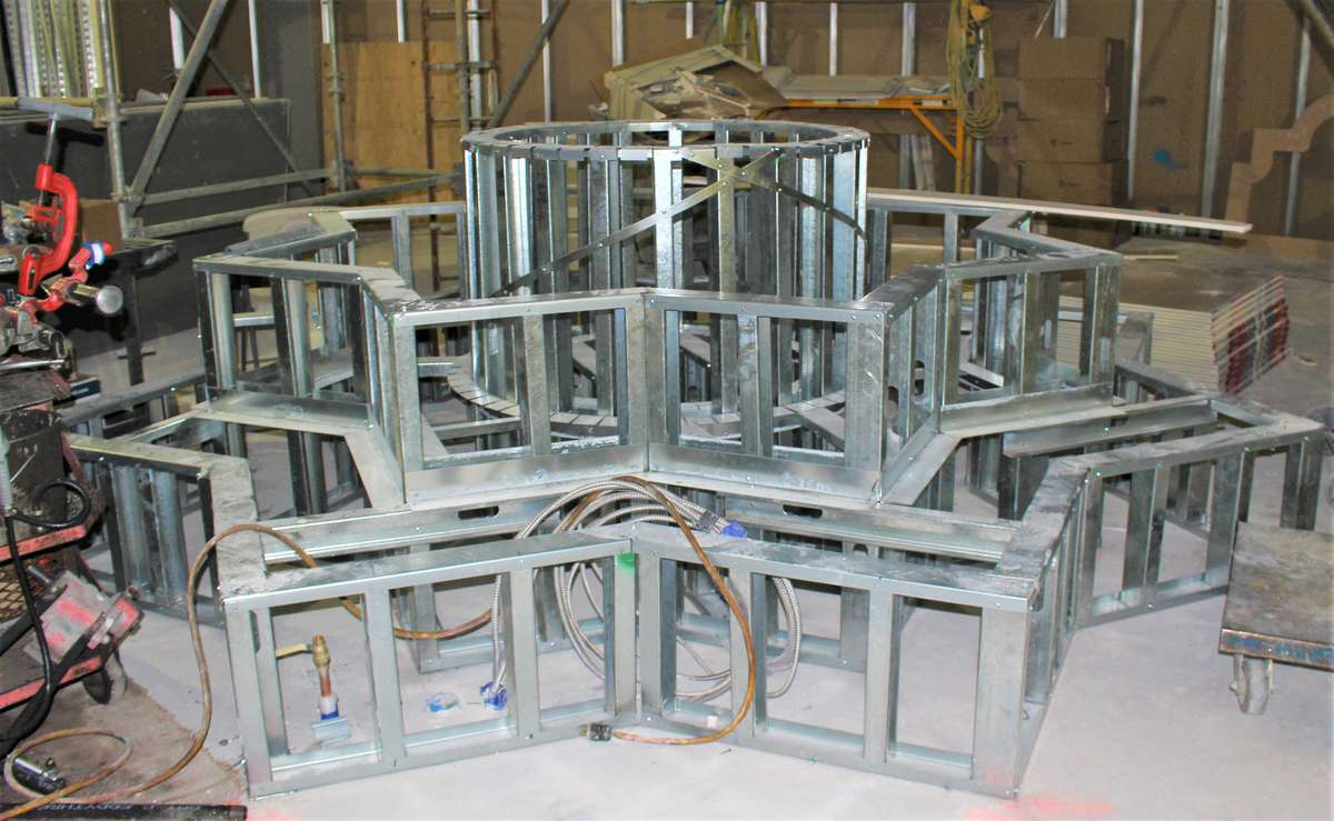 """Metal """"skeleton"""" of fountain/seating area during construction of Urth Las Vegas"""