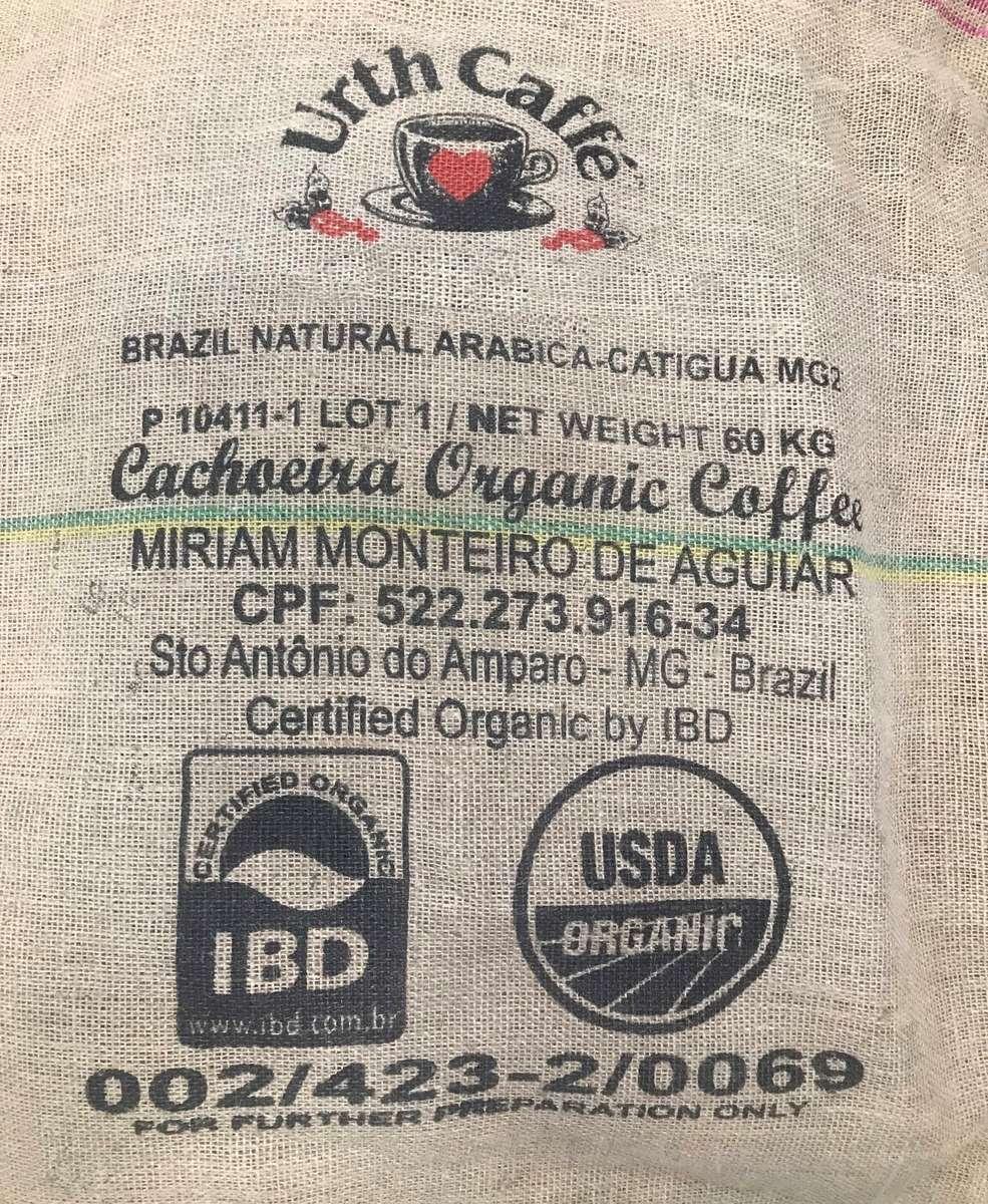 Burlap bag of coffee from Fazenda Cachoeria