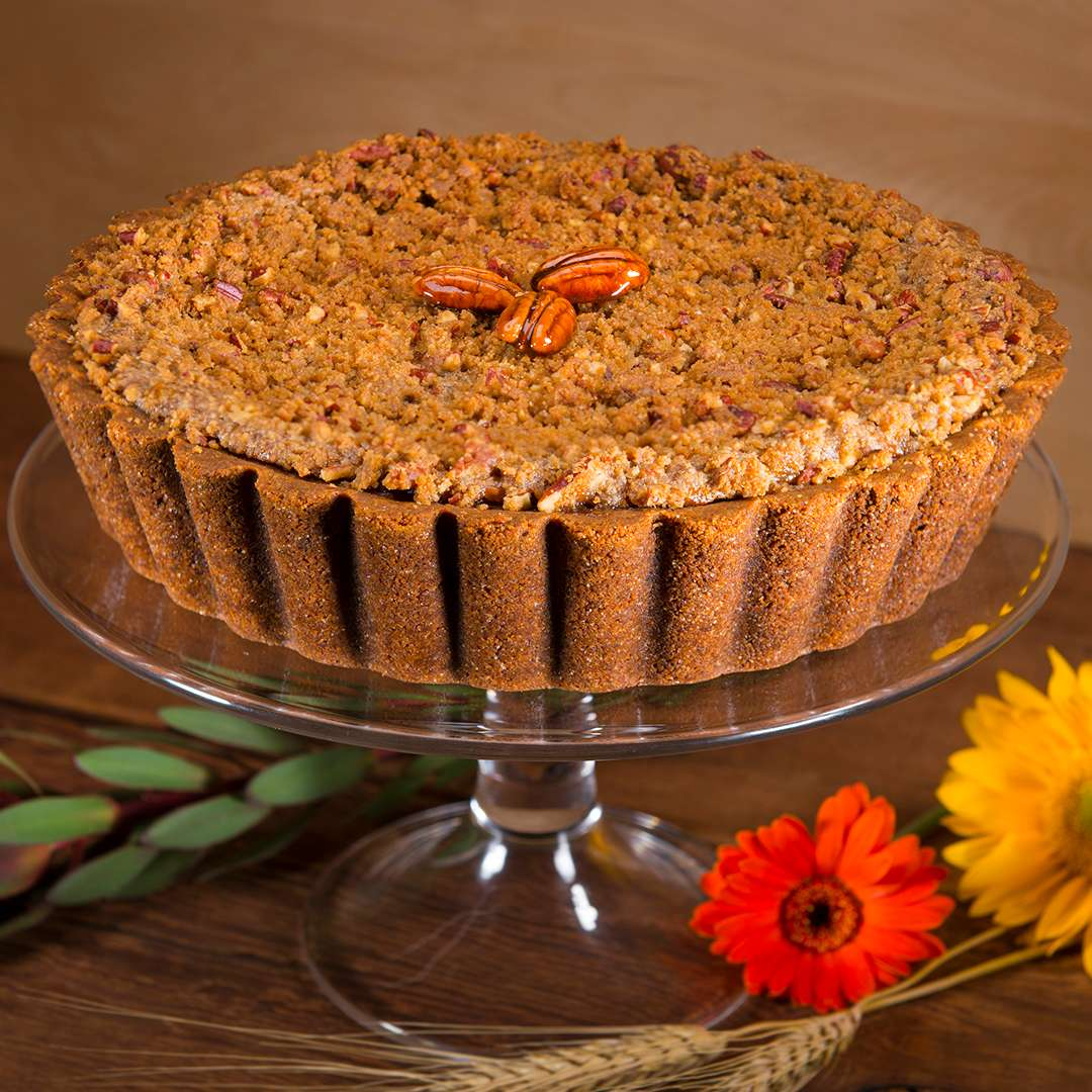 Sweet Potato Pie topped by crushed pecans