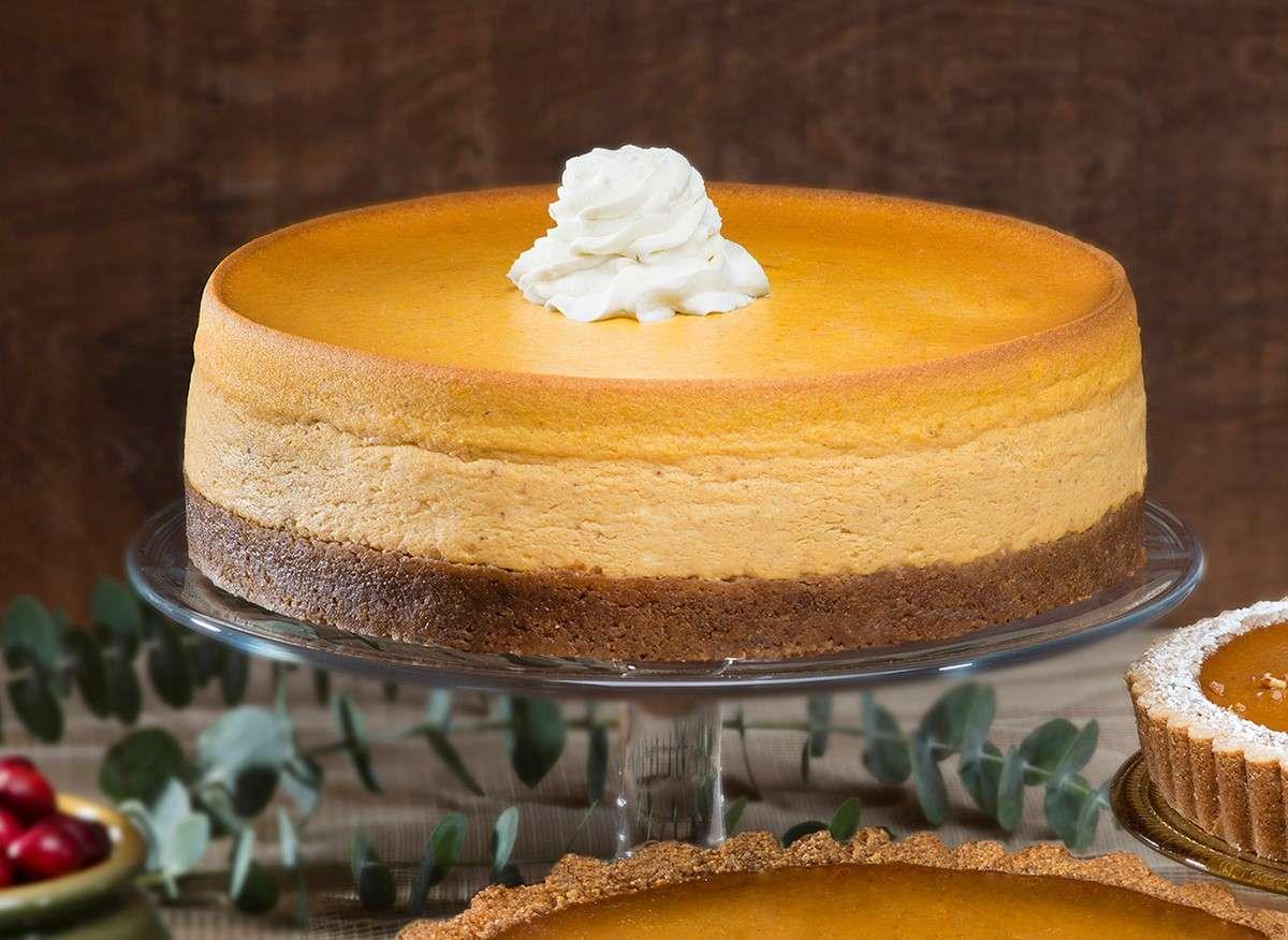 Whole Pumpkin Cheesecake on cake pedestal