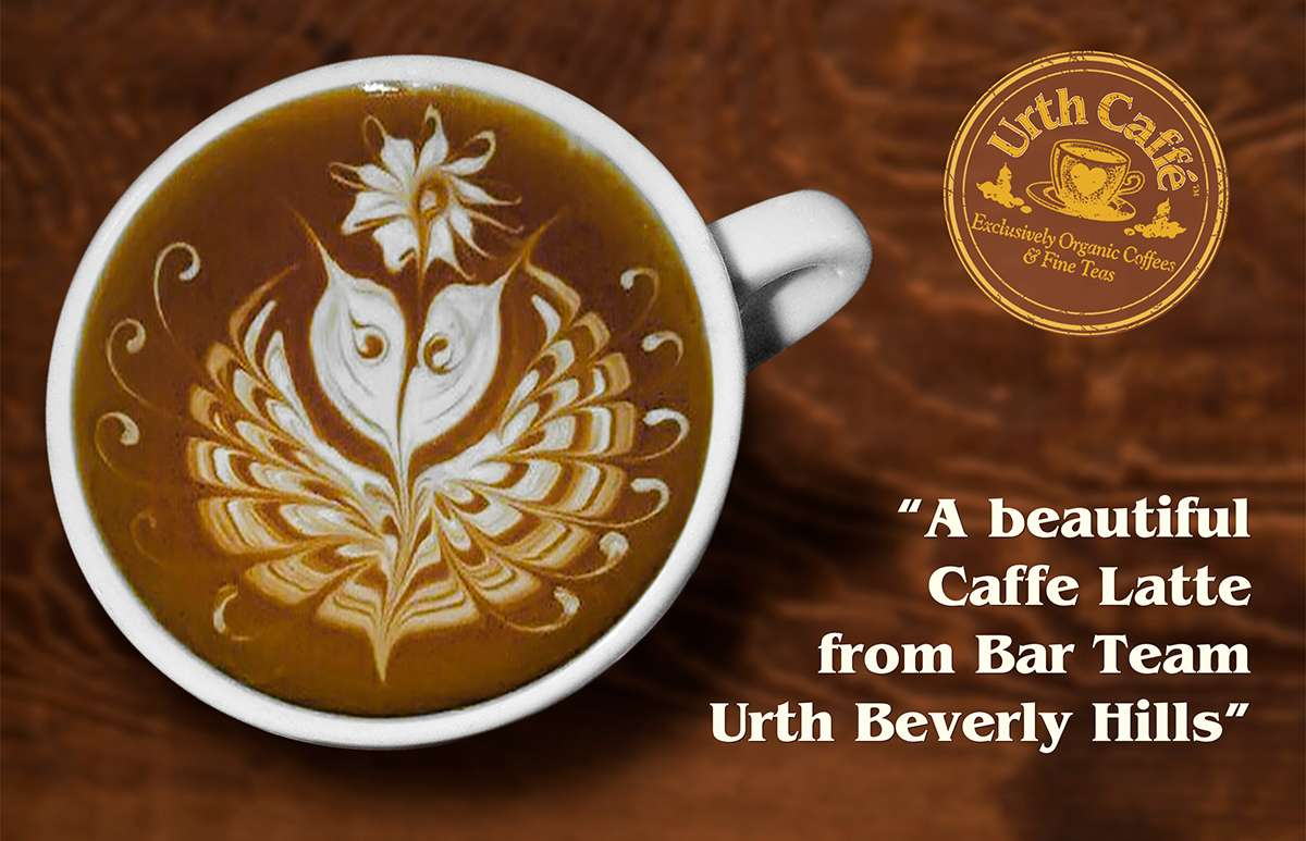 A butterfly image is etched in latte foam