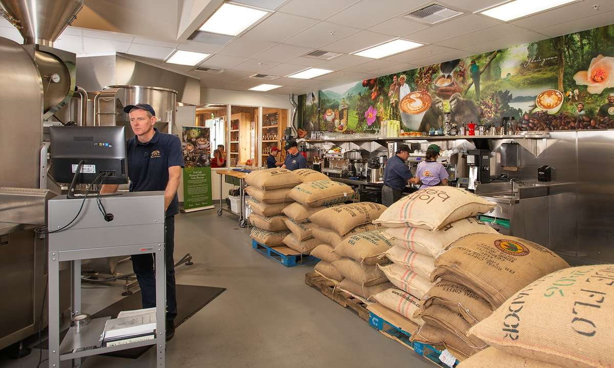 Coffee roasting room - with bags of coffee beans