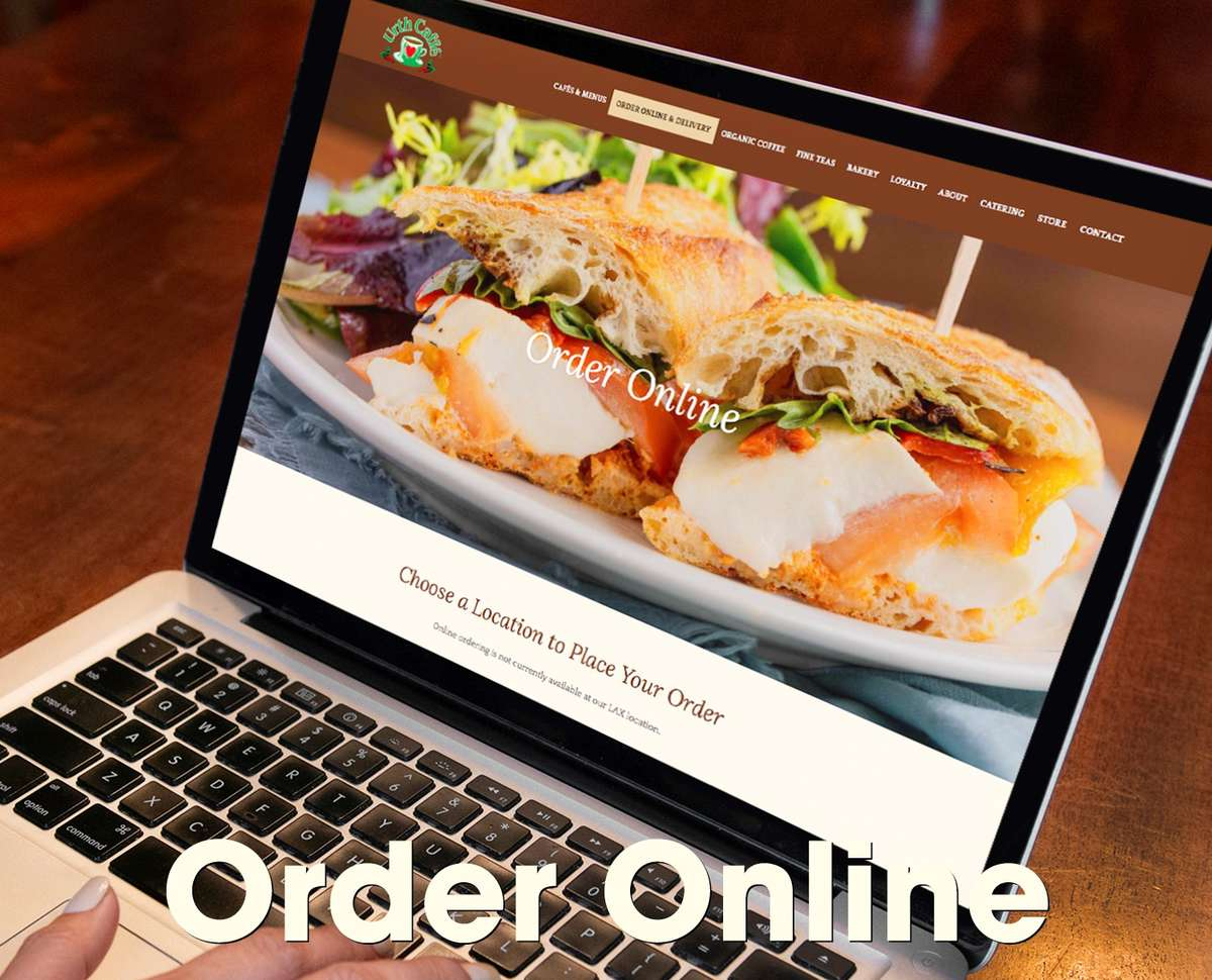 """Graphic shows an open laptop with the words """"Order Online"""" printed over it in white letters"""