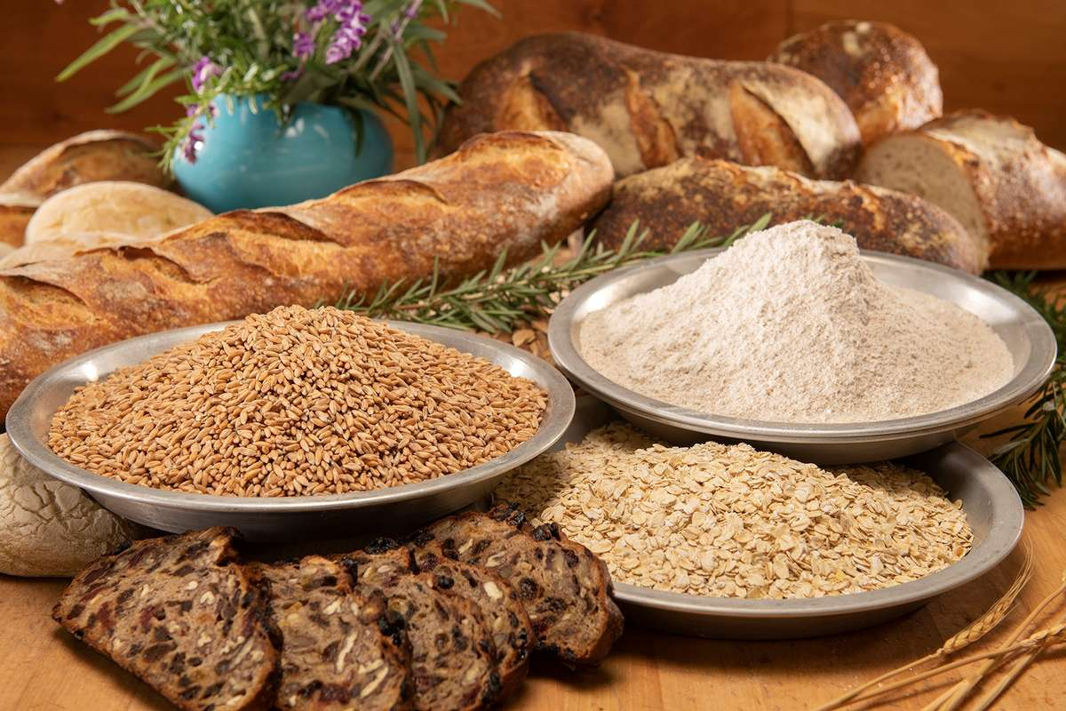 Bowls of whole grains and flour