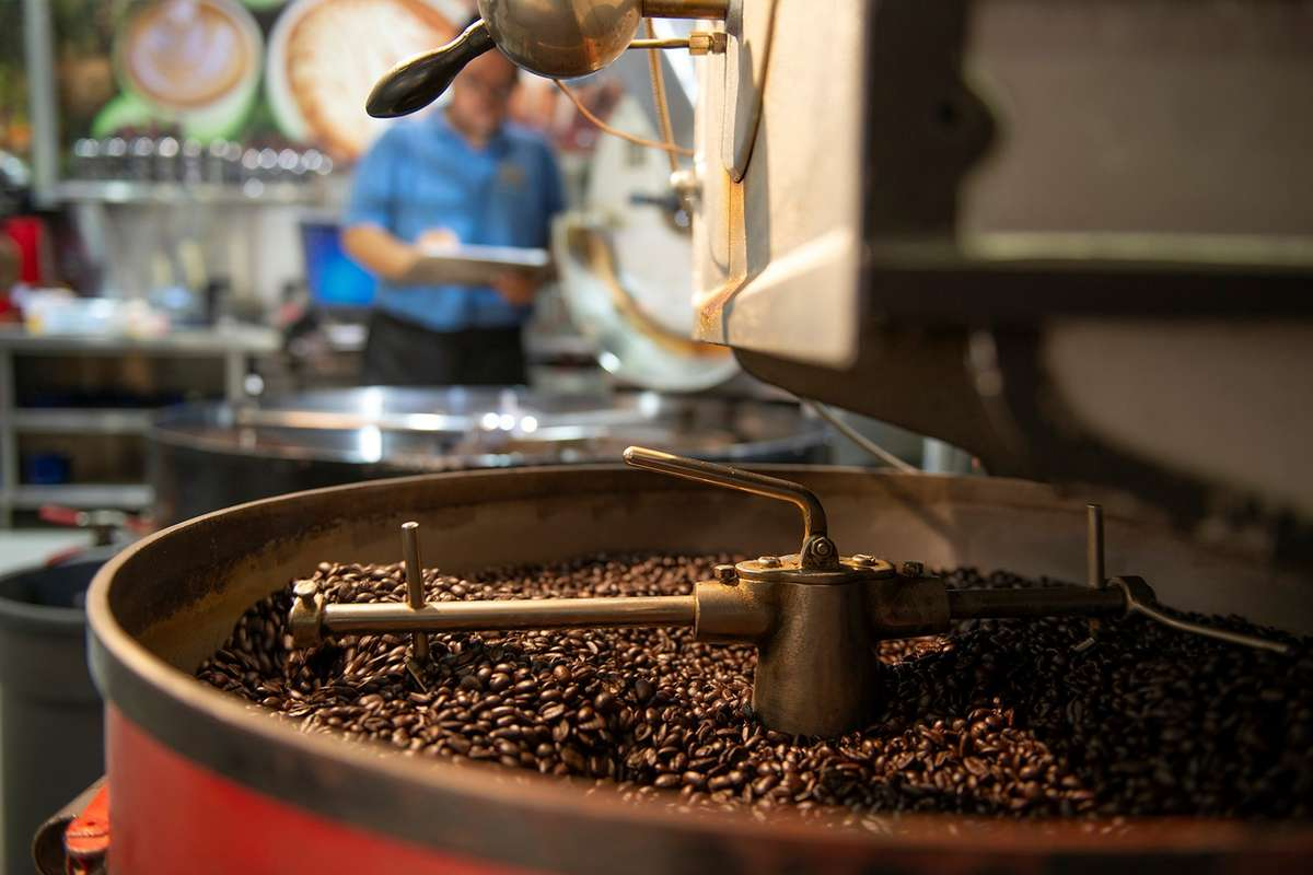 A look inside drum holding coffee during roasting.