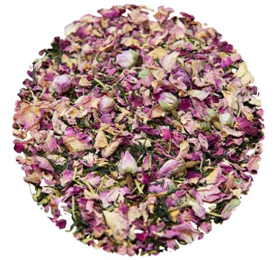 Loose leaf tea with rose petals and green tea leaves