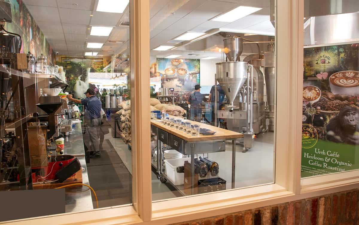 View through window into Urth Caffe Roasting room
