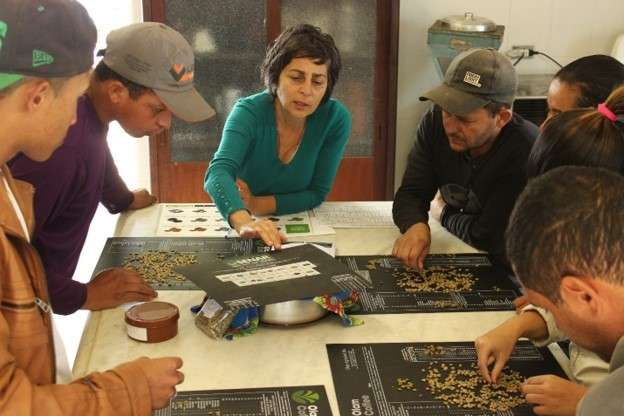 Miriam conducts coffee classification class at Fazenda Cachoeira