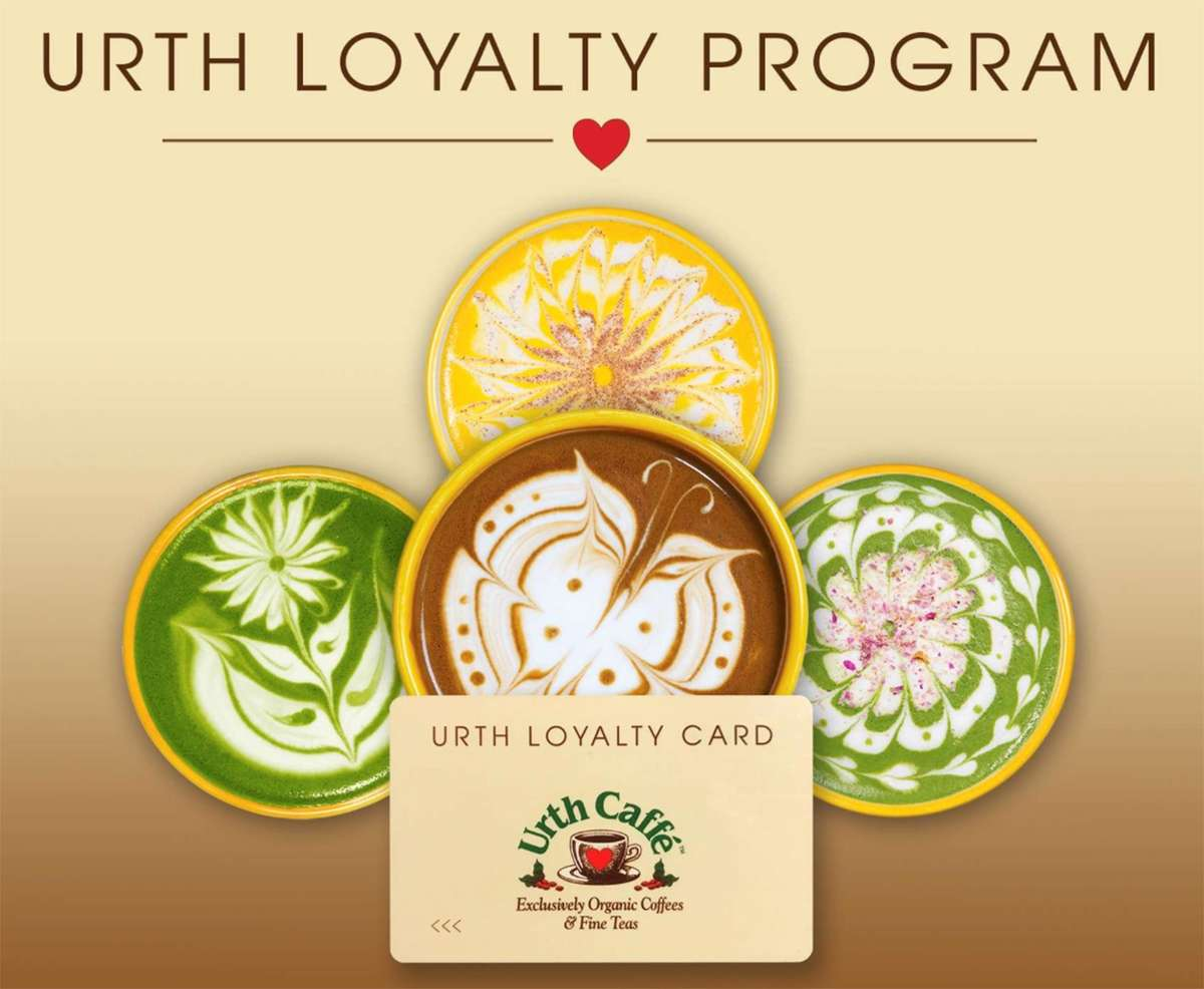 Graphic shows Urth Loyalty Card with a background of decorative lattes