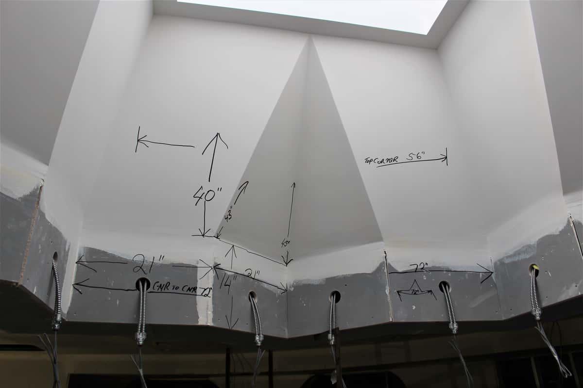 Skylight mockup shows penciled measurements