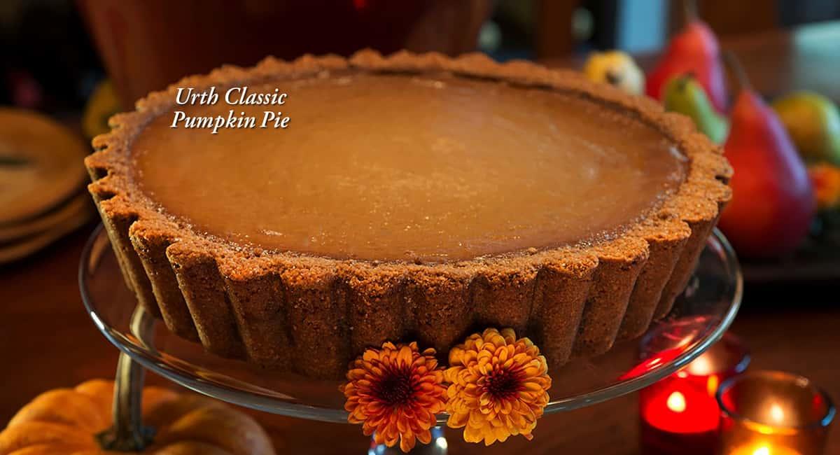 Urth's famous thick crust, deep dish pumpkin pie