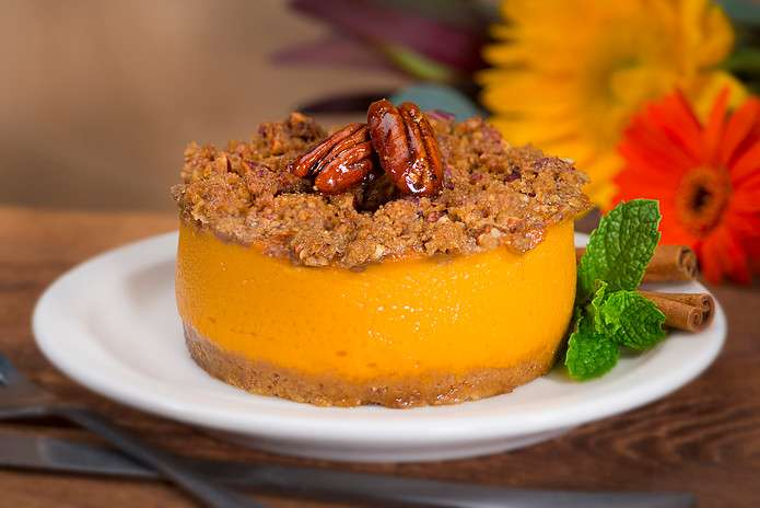 Individual size Sweet Potato Pie - orange filling with graham cracker topping with whole pecans