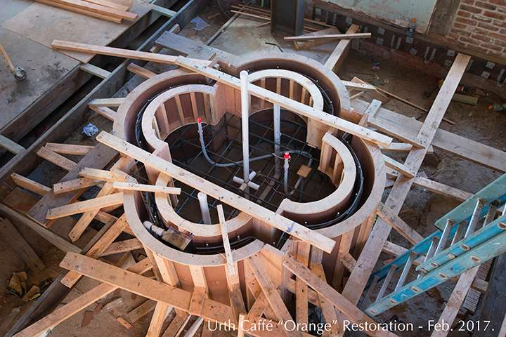 Wooden framing for fountain at Urth Orange