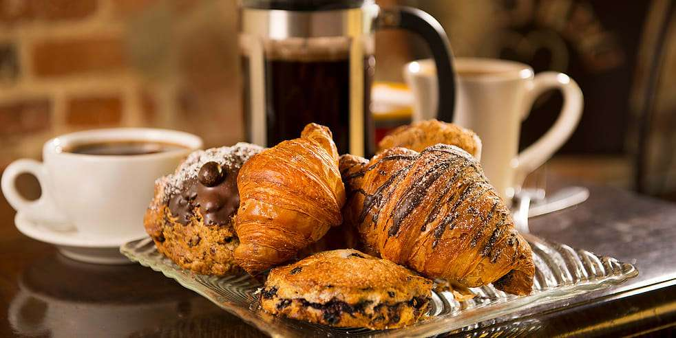 croissants, pastries and French press coffee