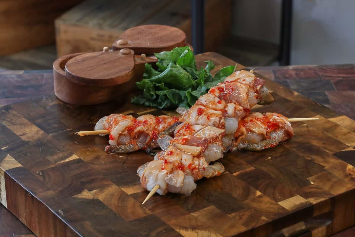 Sweet Chili Bacon Wrapped Shrimp