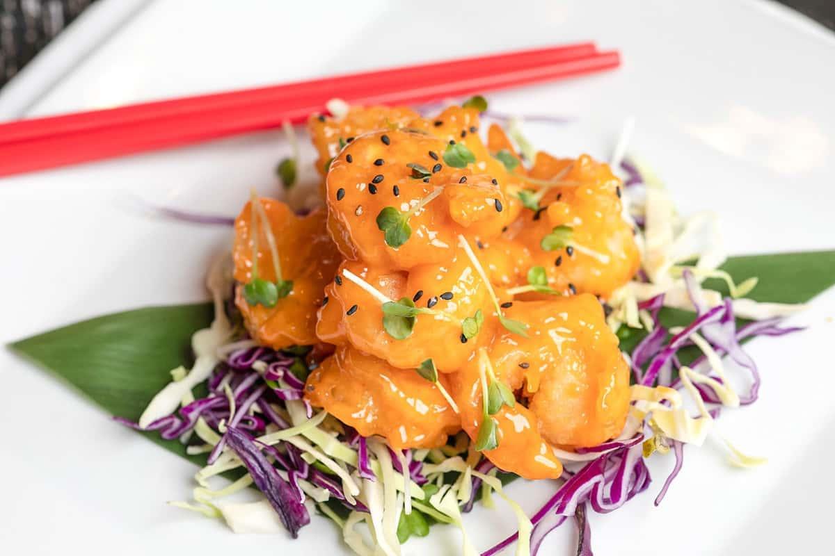 Lemon Cream Shrimp w. Honey Walnut