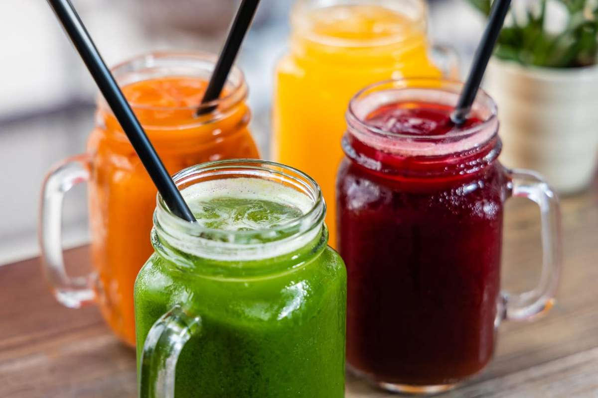 Assorted juices at Kairos Juices Food and Smoothies in Jacksonville, FL