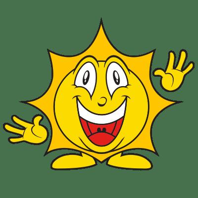 Smiling sun, waving