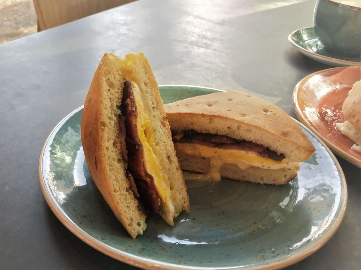 Bacon and Cheddar on Focaccia