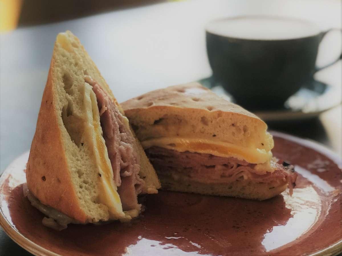 Ham and Swiss on Focaccia