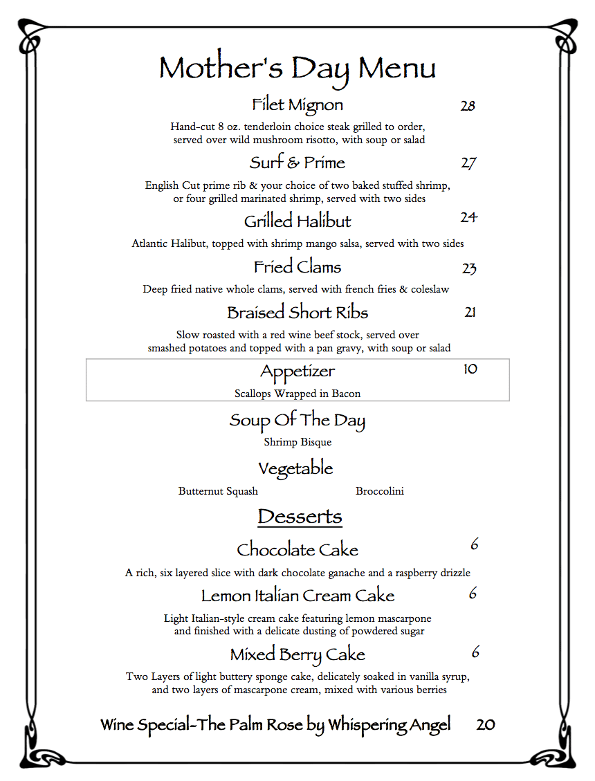 Mother's Day TAKEOUT Menu -5-9-2020