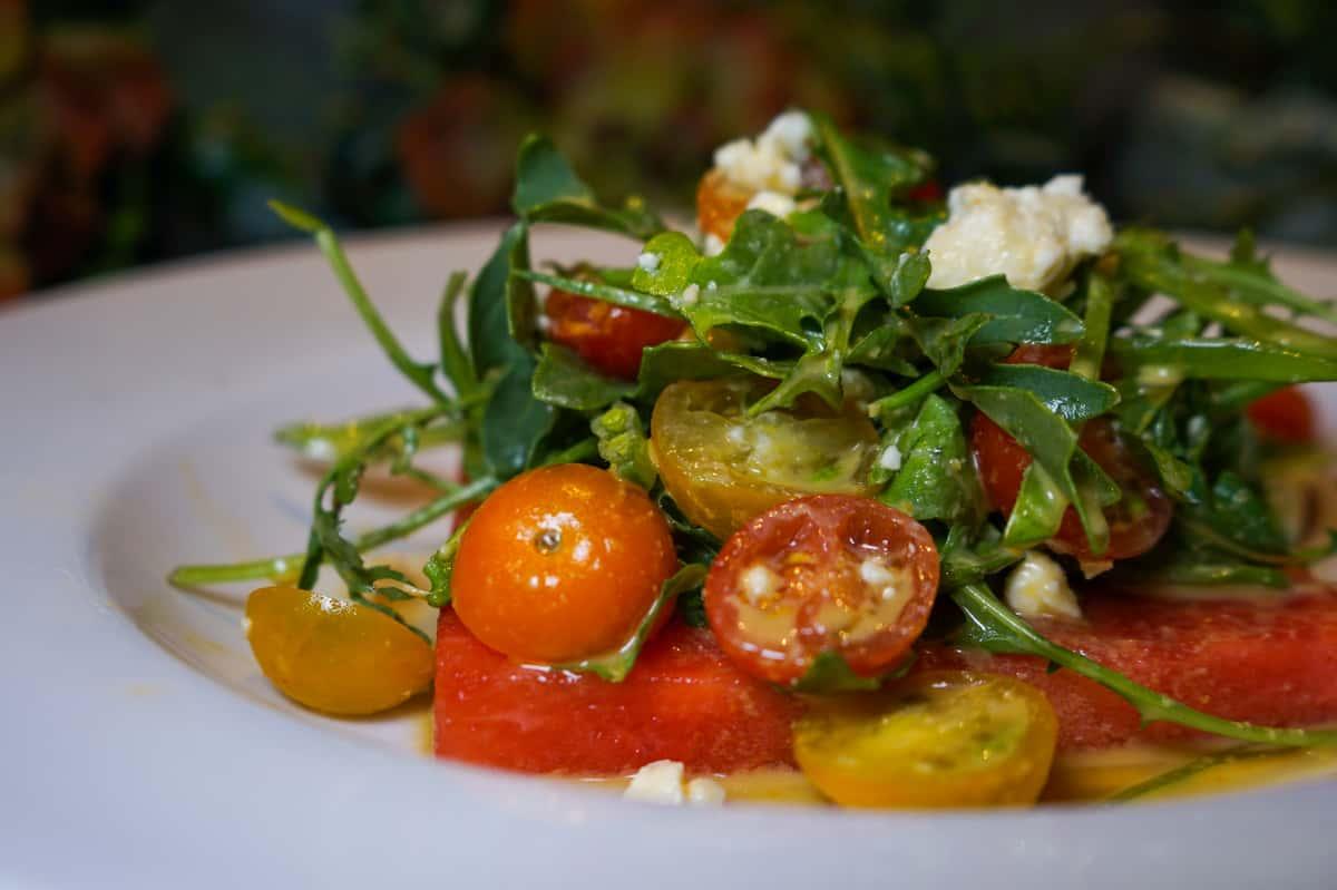 Organic Heirloom Tomato and Picnic Watermelon Salad