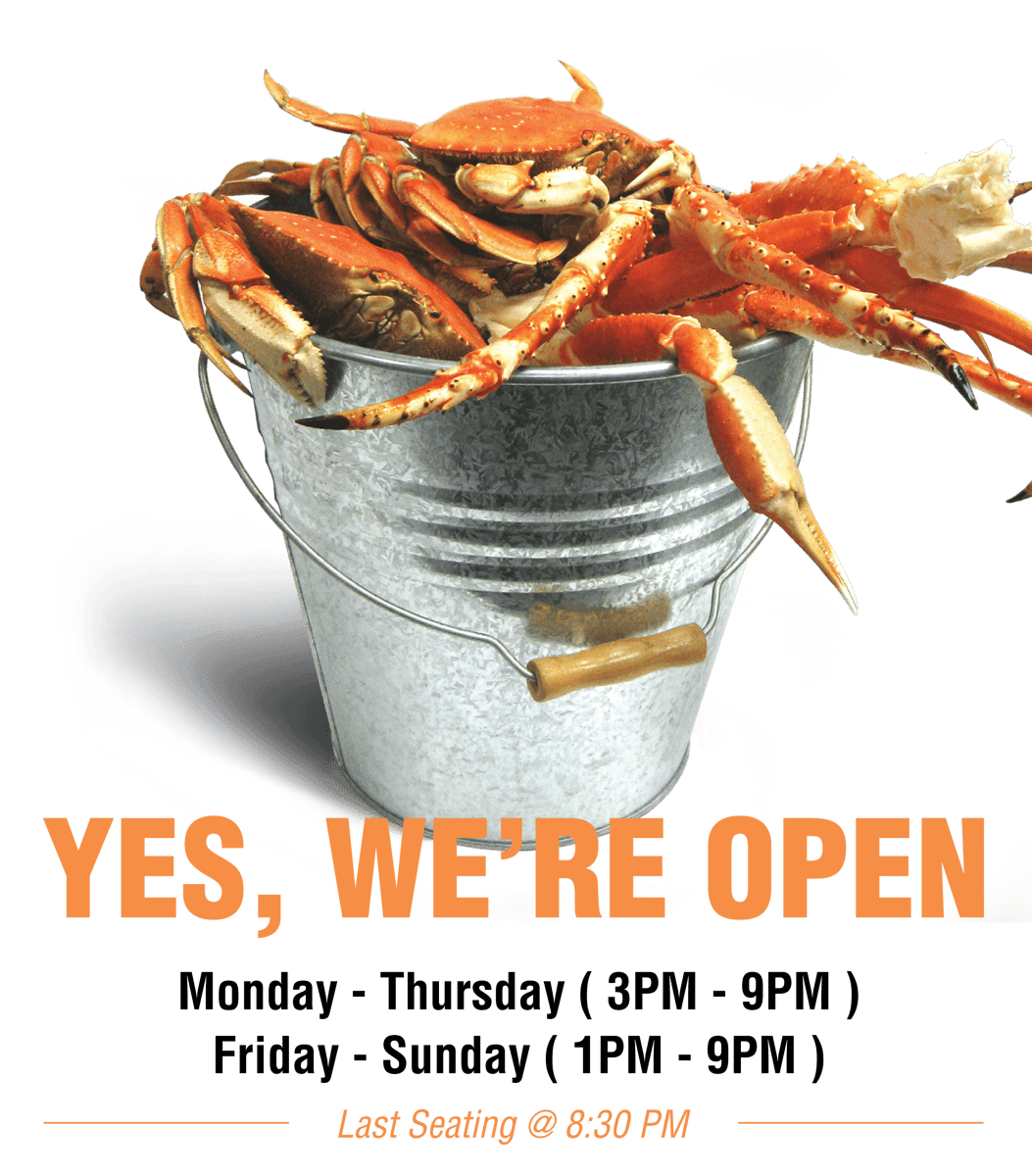 Yes, we're open. Monday - Thursday ( 3PM - 9PM ). Friday - Sunday ( 1PM - 9PM ).