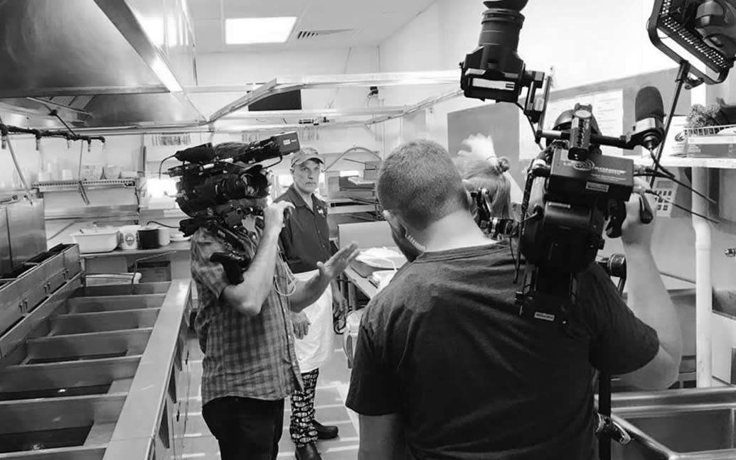 """Owner Jeff Lewis, being filmed for the Cooking Channel's """"Best Thing I Ever Ate"""""""