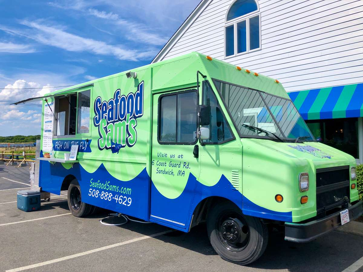 Seafood Sam's food truck, parked outside the Sandwich restaurant