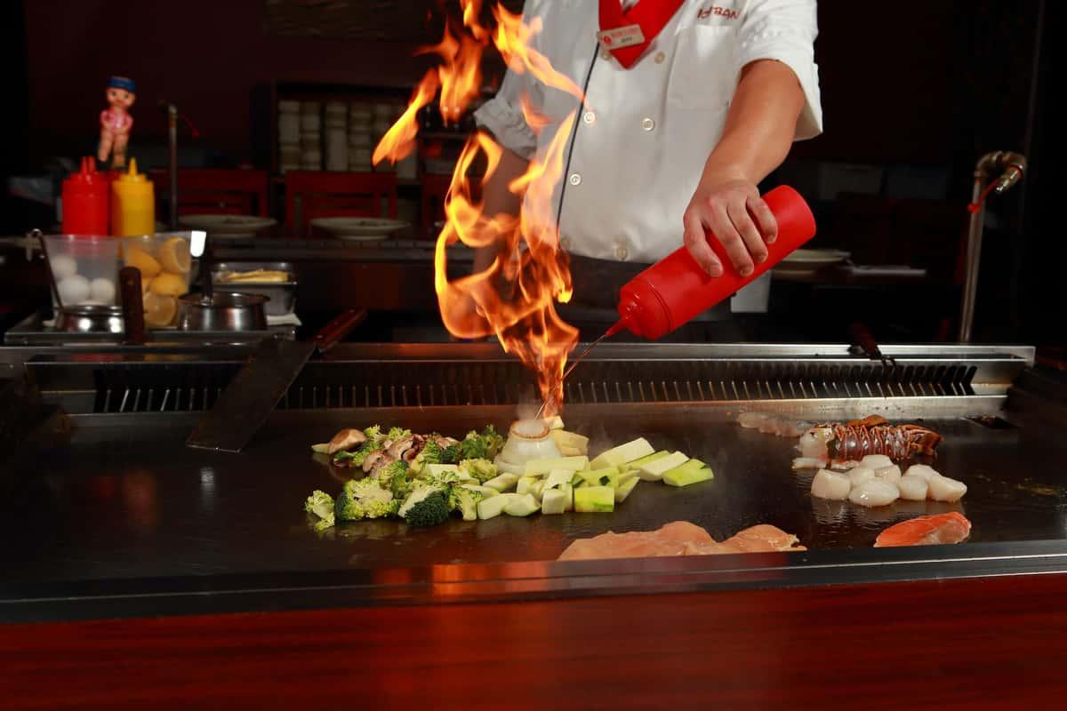 action shot while cooking hibatchi