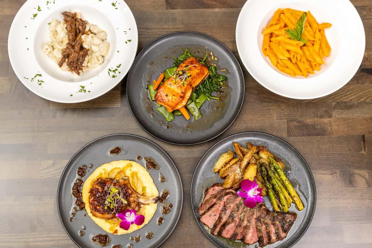 Steak, Salmon, Pasta