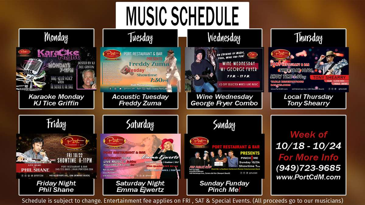 Weekly Entertainment Calender