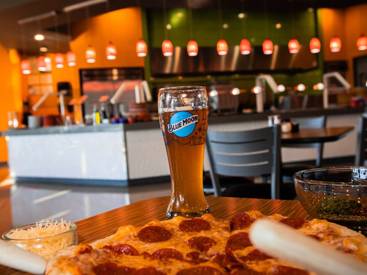 Blue moon beer and pepperoni pizza