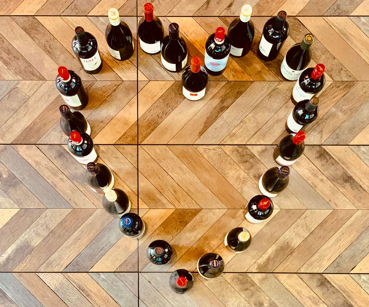 wine bottles in a heart