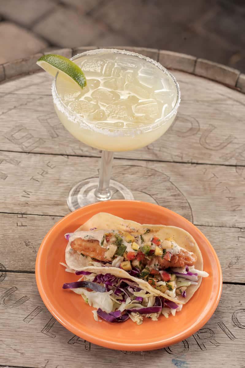 tecate fish taco and margarita