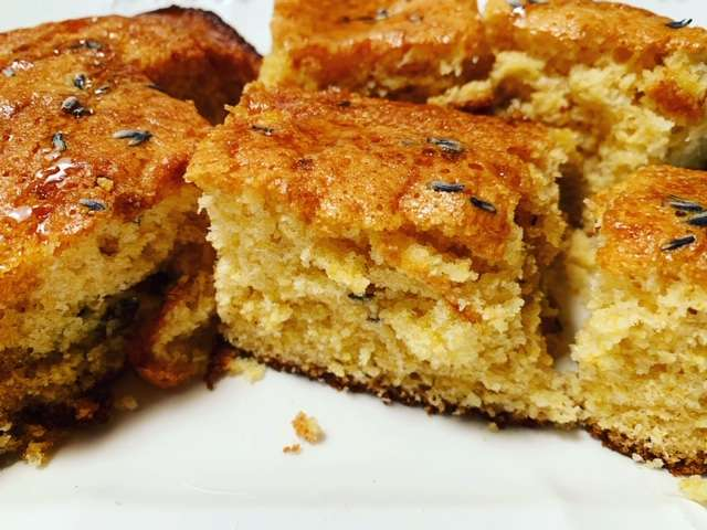 Filthy Filly's Blackberry Lavendar Corn Bread with Honey