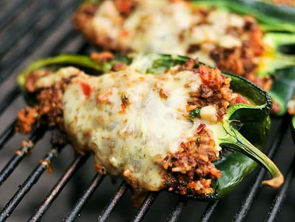 Chorizo stuffed grilled pablanos