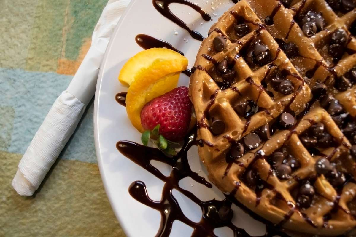 chocolate peach waffle